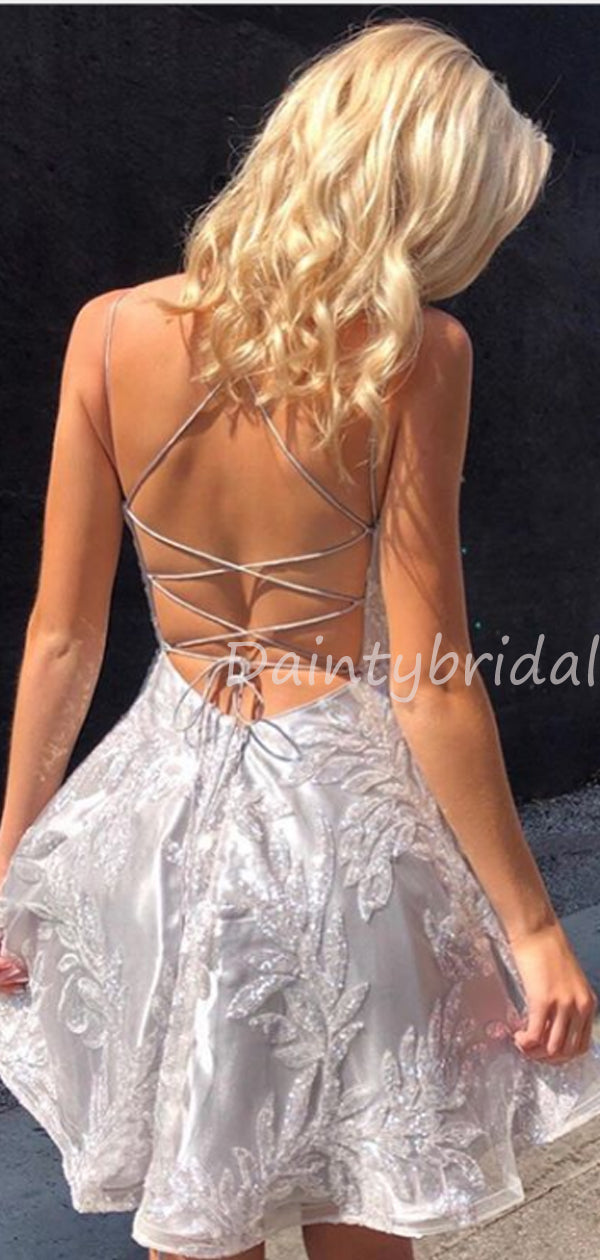 New Arrival V-neck Tulle Lace Open Back Homecoming Dresses.BD10460