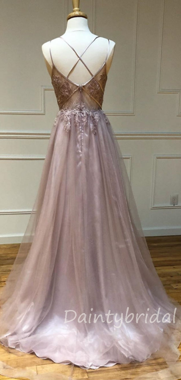 Sexy V-neck Tulle A-line Long Prom Dresses Evening Dresses.DB10380