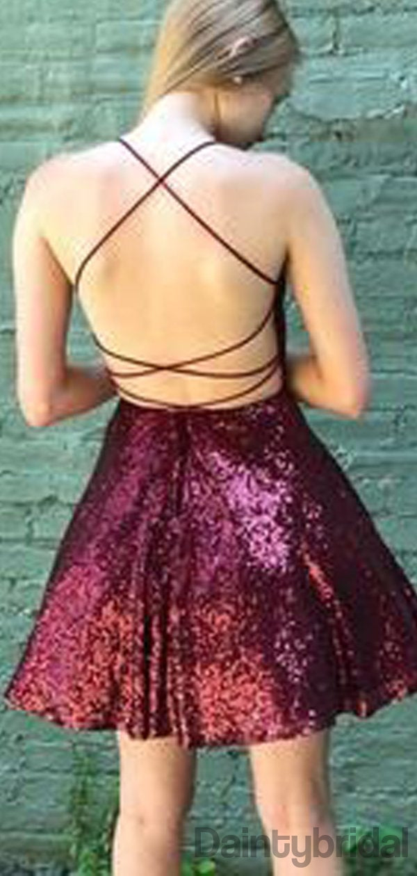 Sexy V-neck Open Back A-line Sequin Bridesmaid Dresses.DB10179