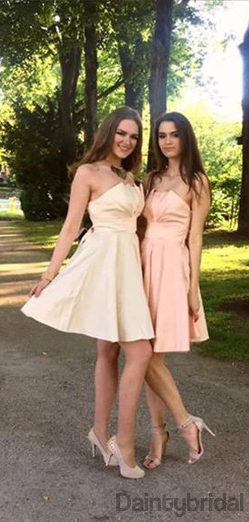 A-line Strapless Lace-up Back Short Satin Bridesmaid Dresses.BD10128