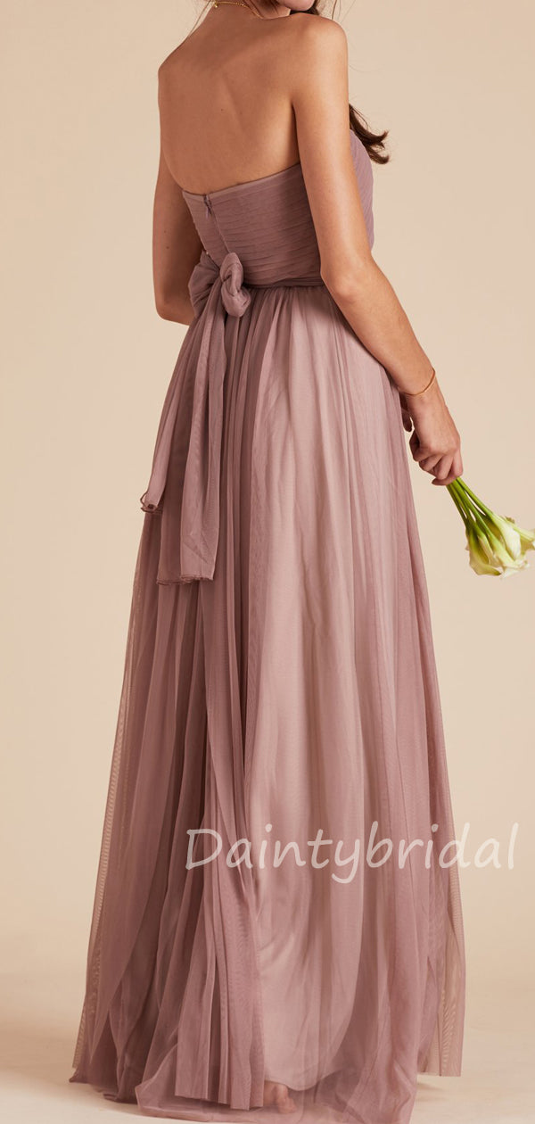 New Arrival Halter A-line Tulle Floor Length Long Bridesmaid Dresses.DB10430