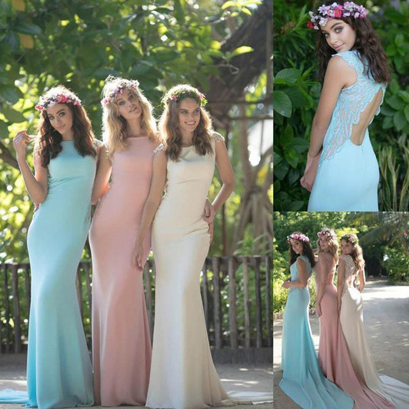 Vintage Sleeveless High Neck Open Back Simple Modest Mermaid  Chapel Trailing Bridesmaid Dress. DB1020