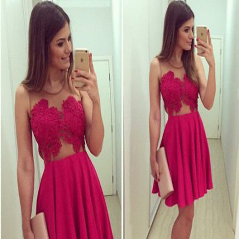 Charming Short Rose Red Lace Clairvoyant Outfit Sleeveless Homecoming Prom Dress,BD00103