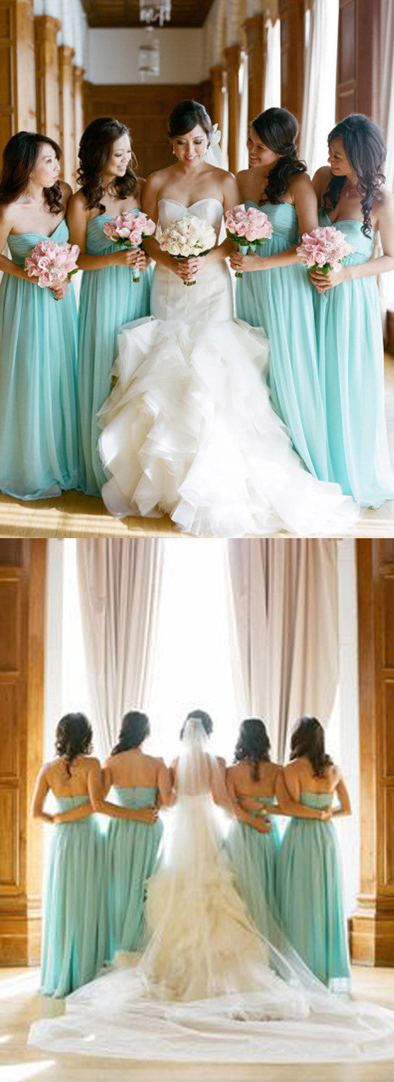 Simple Classic Sweetheart High Waist Strapless Floor-Length Blue Chiffon Long Wedding Party Bridesmaid Dresses, WG107