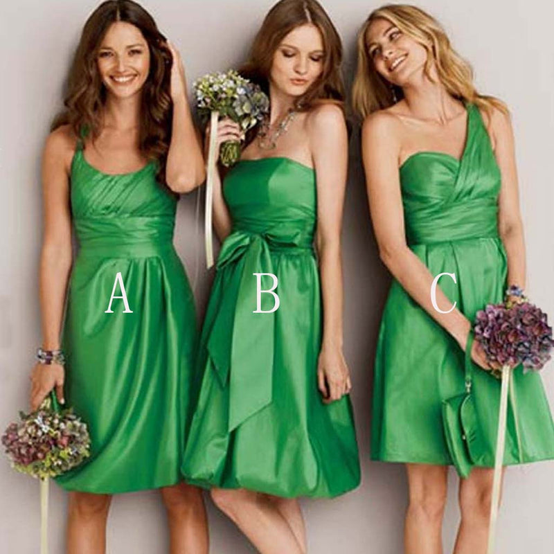 Unique Junior Satin Mismatched Bud Green Different Styles Inexpensive Short Bridesmaid Dresses, WG108