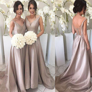 Vintage Simple A-line V-Neck Sleeveless Floor-Length Sweep Trailing Formal Bridesmaid Dresses, WG171