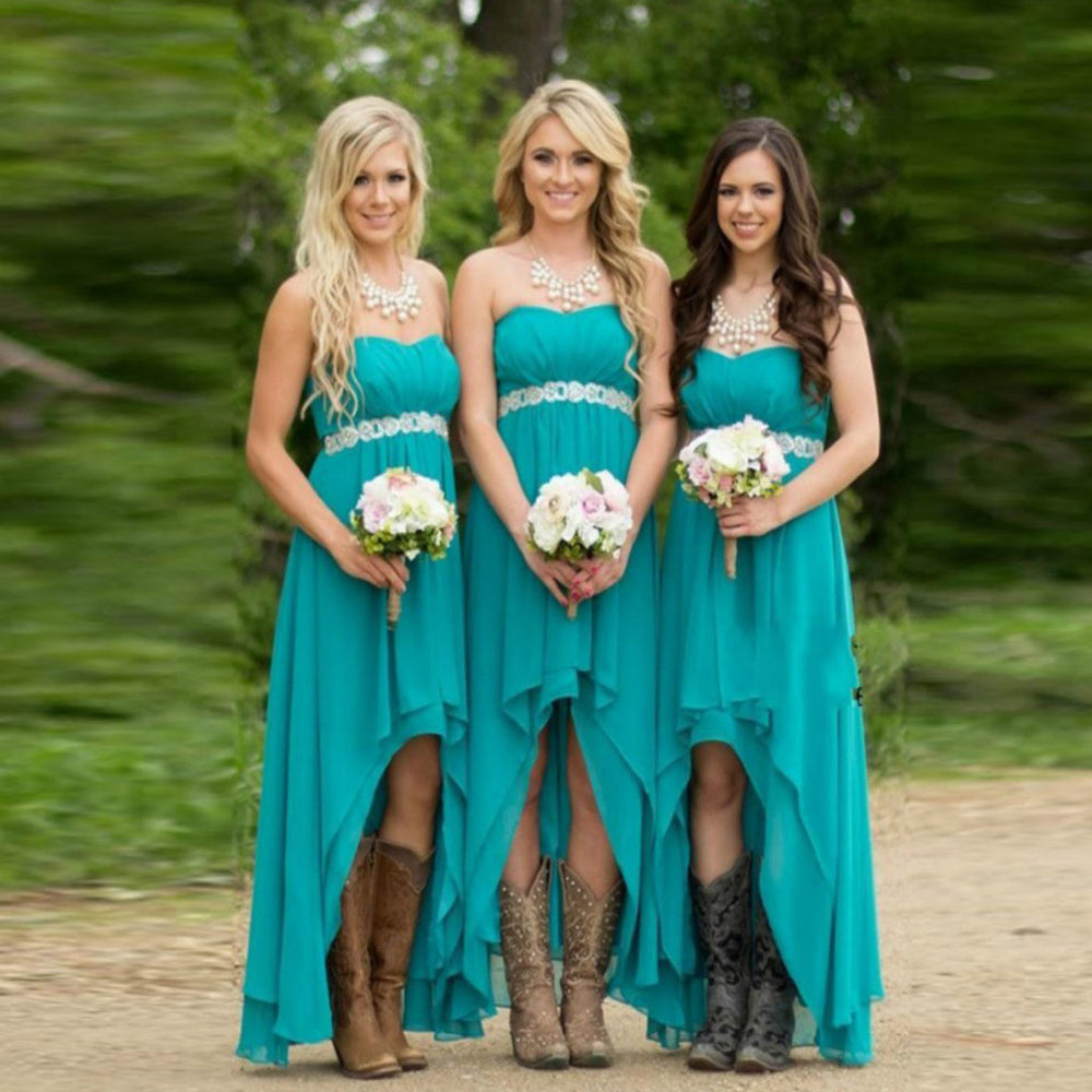 71c6f40907 Popular High Low Chiffon Simple Straight Across Vintage Country Long  Bridesmaid Dresses for Wedding Party