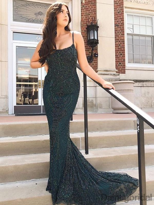 V-neck Lace With Beads Mermaid Long Prom Dresses Evening Dresses.DB10235