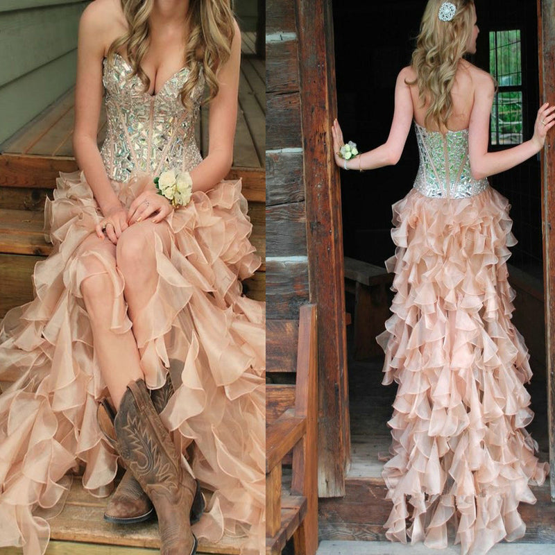 Newest Two Pieces Ruffles  Ball Gown Vintage Gorgeous Sparkly Beading Long Formal Prom Dress .DB085
