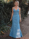 Gogerous Spaghetti Strap Mermaid Sleeveless Satin Long Bridesmaid Dresses.DB10635