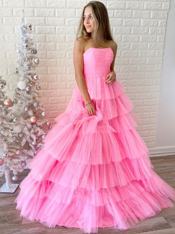 Simple Straight A-line Tulle Prom Dresses Evening Dresses.DB10824