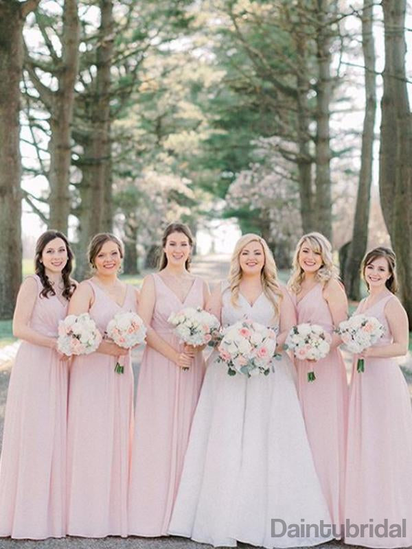 V-neck Chiffon A-line Floor Length Bridesmaid Dresses.DB10209