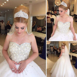 Popular Cheap Luxury Rhinestone Illusion Neck Beaded Tulle Ball Gown Wedding Party Dresses, WD0010