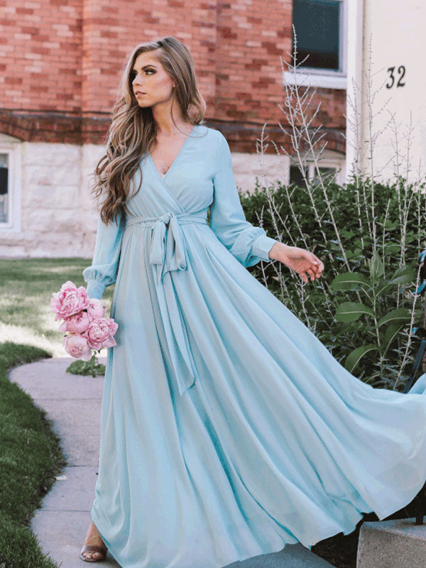 Charming V-neck Chiffon Floor-length Long Sleeve Long Bridesmaid Dresses.DB10655