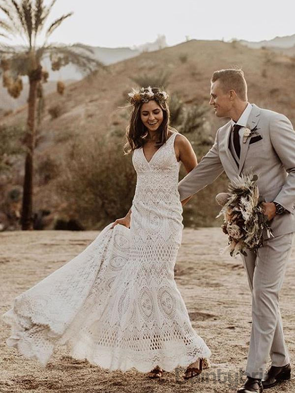 Sexy V-neck Lace Wedding Dresses With Train,DB10270