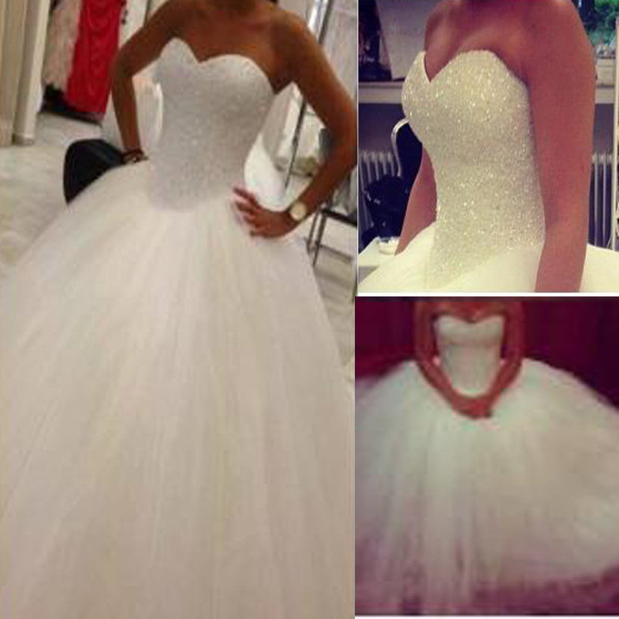 Simple Cute Vintage Sweetheart Strapless White Beaded Tulle Ball Gown Wedding Party Dresses, WD0185