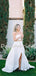 Pretty Straight Simple Two-piece Side Slit Long Wedding Dresses, DB10740
