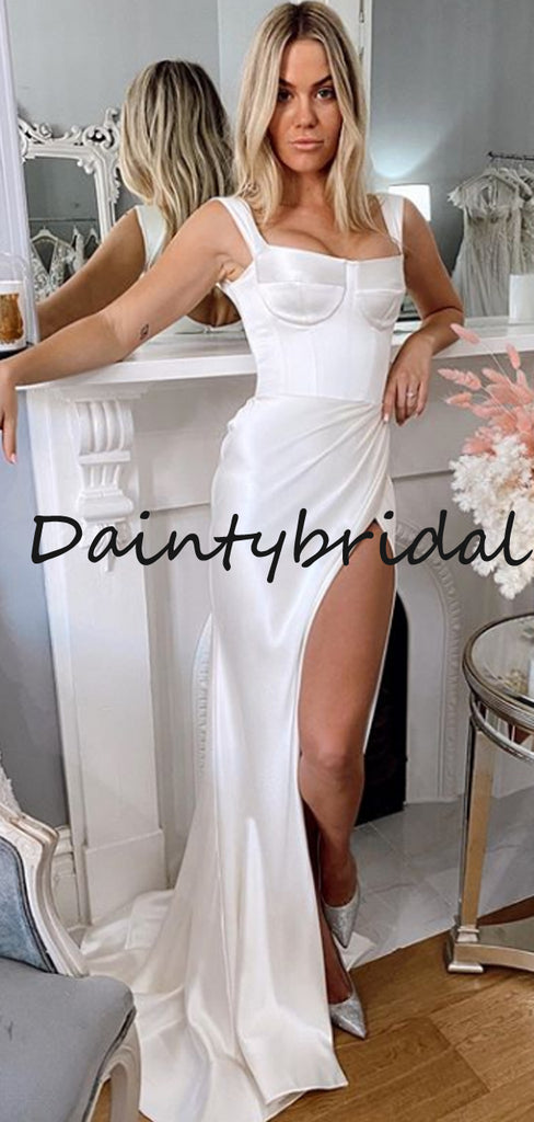 Fashion Simple Spaghetti Strap Side Slit Mermaid Long Wedding Dresses Evening Dresses.DB10706