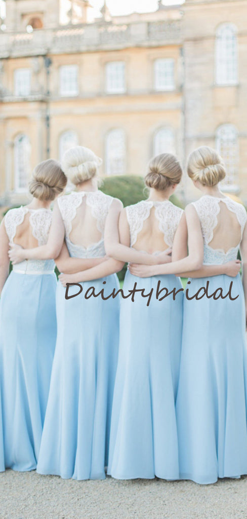 Elegant Simple Scoop Neck Mermaid Sleeveless Sequin Lace Chiffon Wedding Party Dresses Long Bridesmaid Dresses.DB10701