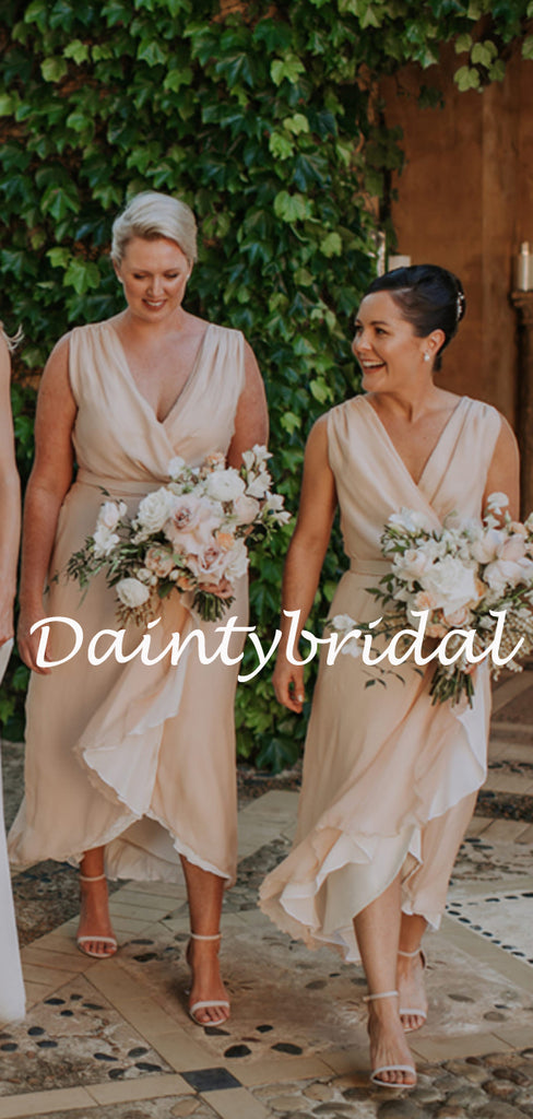 Sexy V-neck Side Slit Long Bridesmaid Dresses.DB10768