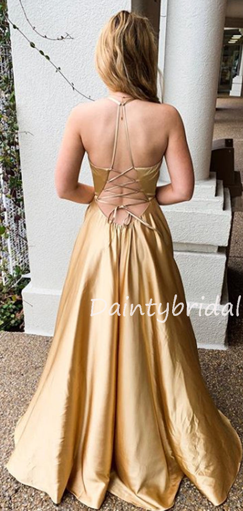 Sexy V-neck Lace Up Back Side Slit Long Prom Dresses Evening Dresses.DB10592