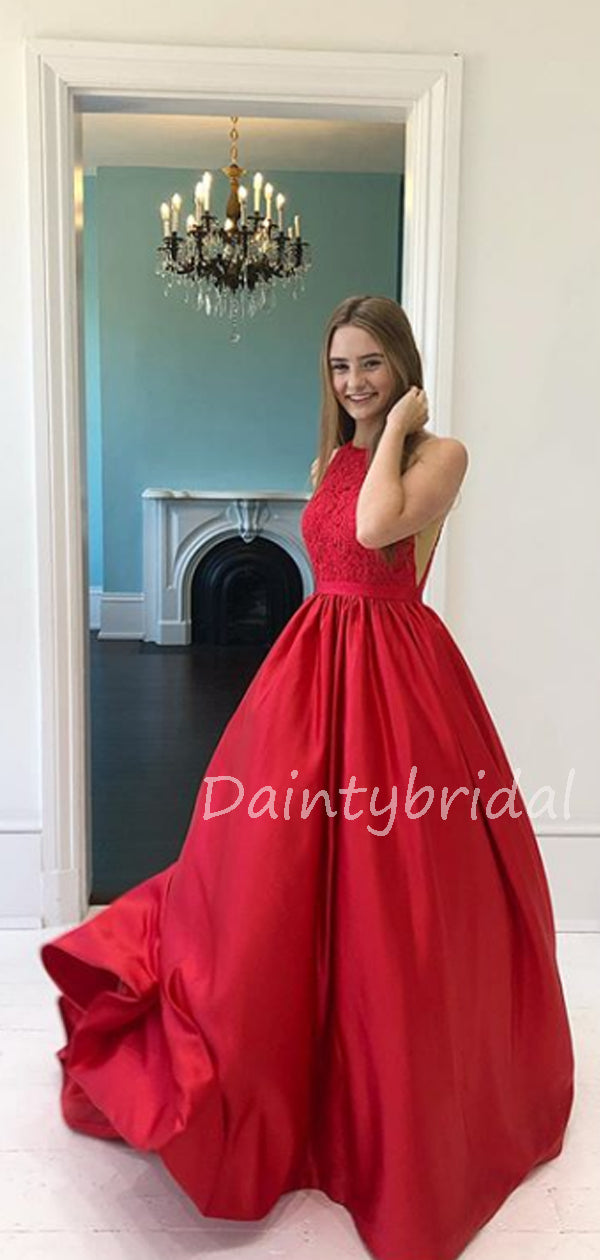 Charming A-line Satin Lace Long Prom Dresses Evening Dresses.DB10571