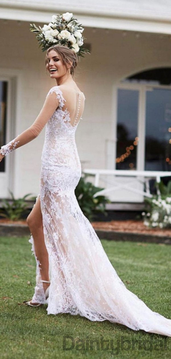 Sexy V-neck Lace Slit See-through Wedding Dresses,DB10271