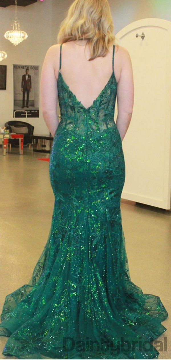 Sexy V-neck Sequin Mermaid Long Prom Dresses. DB10282