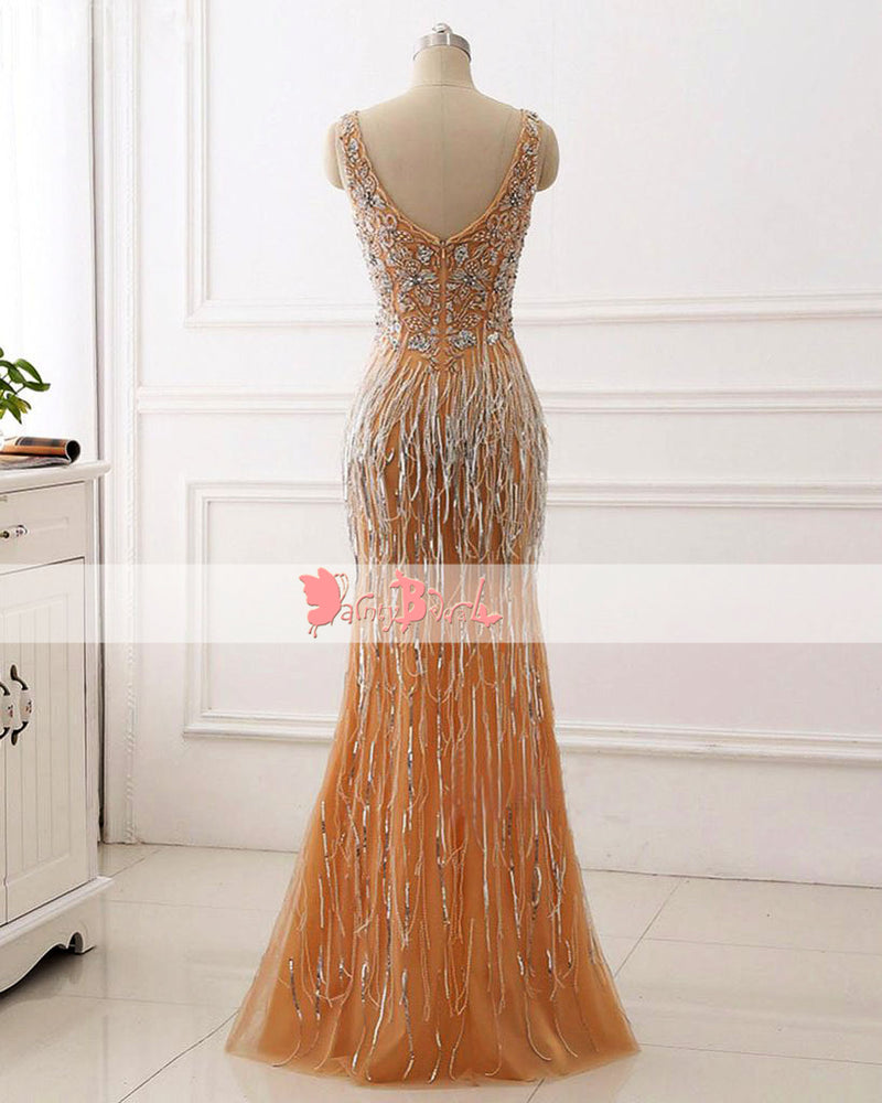 Sparkly Beaded Sequins Mermaid Sleeveless Formal Party  Prom Dresses. DB1061