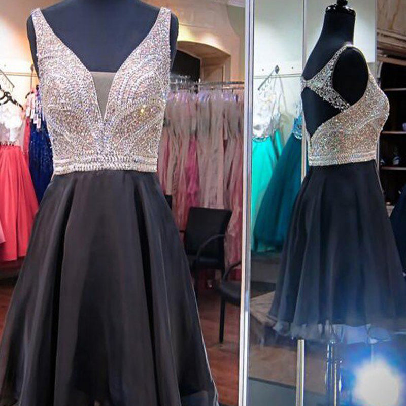 Sleeveless Open Back  Sliver V-neck Sparkly Sequins Appliques Knee Length Homecoming Prom Dress,BD00111