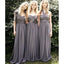 Cheap Popular Convertible Chiffon Gray  Long Column Country Bridesmaid Dresses for Wedding Party, WG111