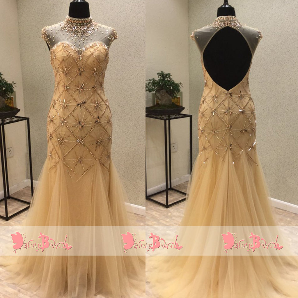 High Neck Keyhole Back Cap Sleeve Stunning Beaded Rhinestone Mermaid Prom Dresses. DB1062