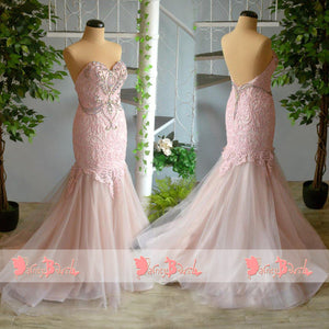 Pink Lace With Beaded Sweetheart Strapless Mermaid Gorgeous Prom Dresses. DB1063