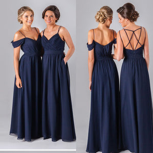 Hot Sale Mismatched  Navy Spaghetti Strap Simple Off Shoulder A-line Pleats Criss-Cross Bridesmaid Dress. DB1026