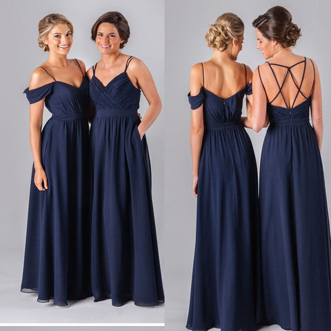 2017 Hot Sale Navy Simple Off Shoulder A-line Cheap Formal Bridesmaid Dress. DB1026