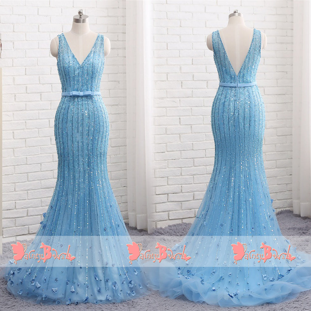 Charming Blue Beaded Handmade Flowers Shinning Mermaid V-neck Prom Dresses. DB1065