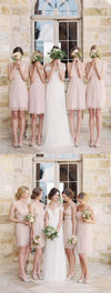 Lovely Pretty Mismatched Sleeveless Junior Lace Chiffon Blush Pink Mini Column Bridesmaid Dress, WG115