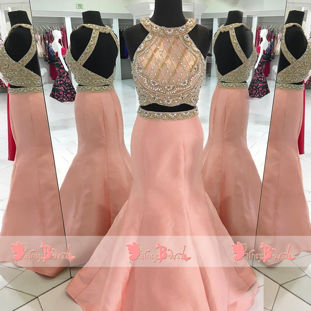 Two Piece Stunning Beaded Rhinestone Peach Open Back Mermaid Halter Prom Dresses. DB1066