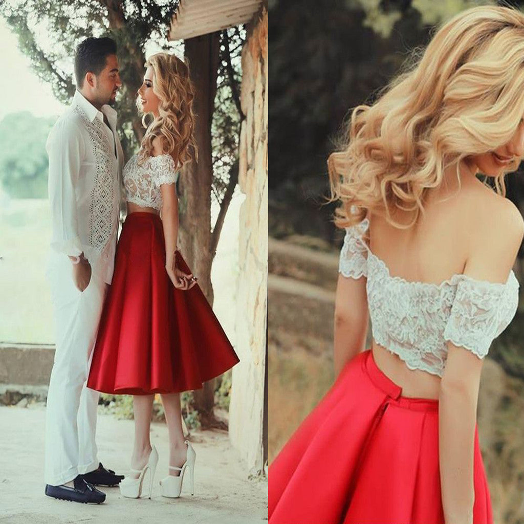 Two Pieces Short Sleeve Off Shoulder Bare-midriff Lace Tea-length Homecoming Prom Gown Dress,BD00115