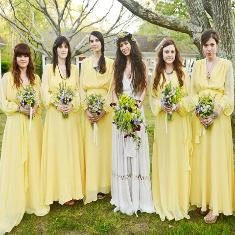 Cheap Yellow Country Long Sleeve Simple Chiffon Floor Length Wedding Party Popular Bridesmaid Dress. DB1025