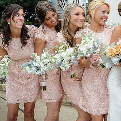 Fashion Cap Sleeve Unique Open Back Full Lace Blush Pink Mini Short Sheath Bridesmaid Dresses, WG116