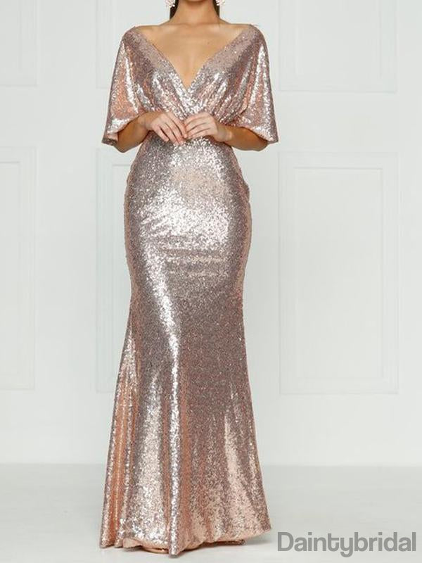 V-neck Sequin Half Sleeve Open Back Floor Length Long Prom Dresses.DB10191