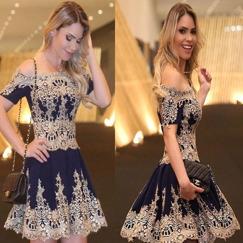Vintage Navy Gold Lace Appliques Short Sleeve Off Shoulder Mini A-line Homecoming Prom Dress,BD0100