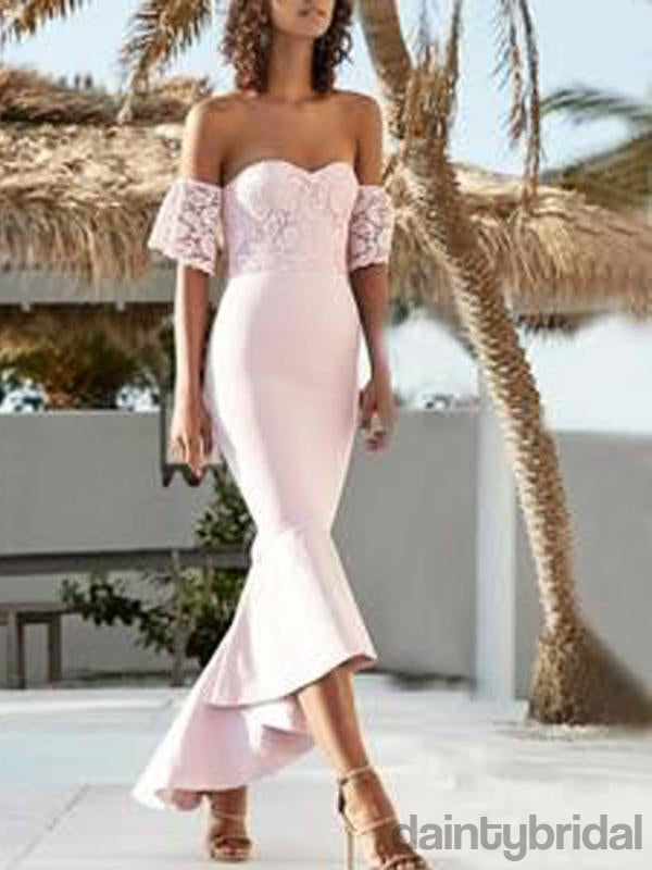 Pink Lace Off Shoulder Sweetheart Mermaid High Low Bridesmaid DressesDB10029