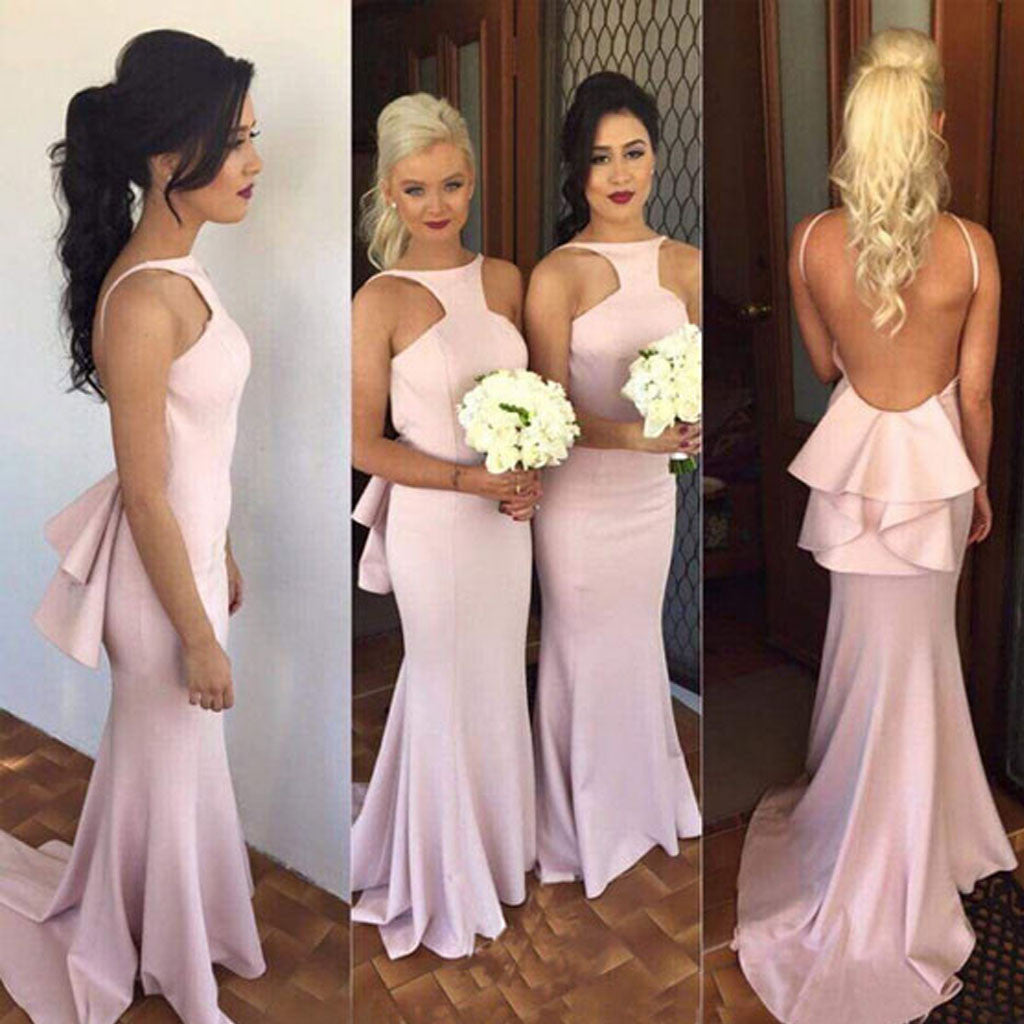 Unique Halter Spaghetti Strap Ruffles Sexy Backless Mermaid Long Sweep Trailing Bridesmaid Dresses for Wedding, WG011