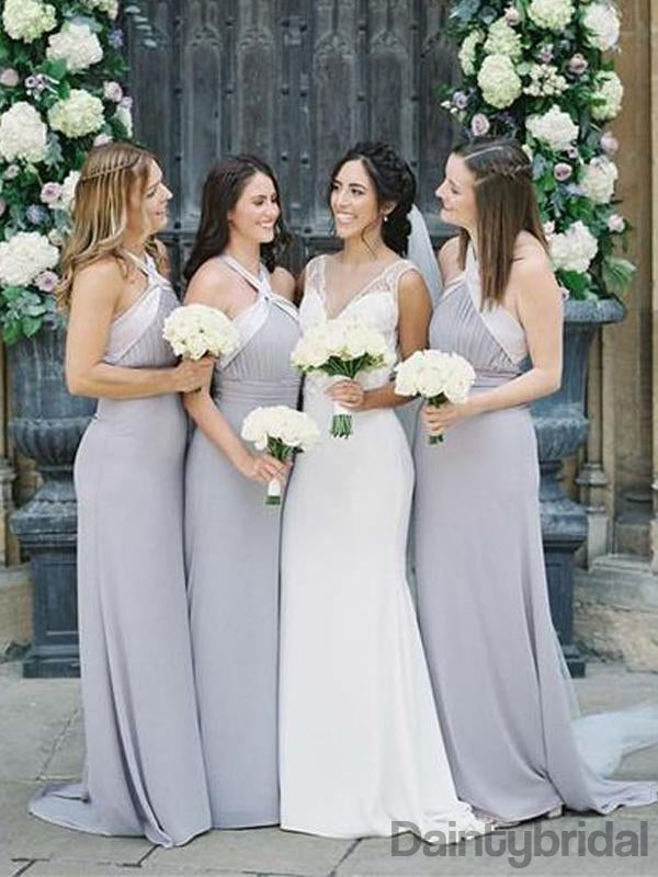 Grey Halter Open Back A-line Ankle Length Bridesmaid Dresses,DB132