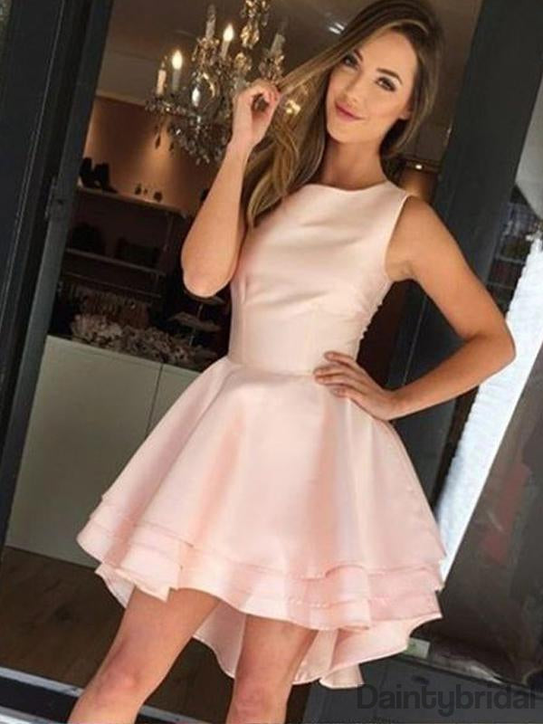 A-line Round Neck Sleeveless Simple Cheap Homecoming Dresses.BD10129