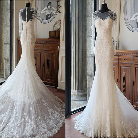 High Quality Custom Long Illusion Sleeve Sexy Mermaid Chapel Trailing Lace Beaded Wedding Party Dresses, WD0011