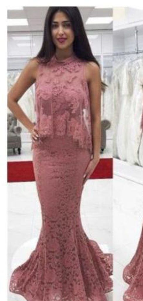 Affordable Pink High Neck Lace Two Piece Prom Dresses Evening Dresses.DB10027