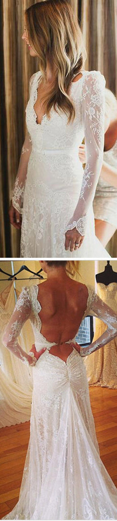 Sexy V-neck Backless Mermaid Long Sleeve Full White Lace Tulle Floor Length Wedding Party Dresses, WD0012
